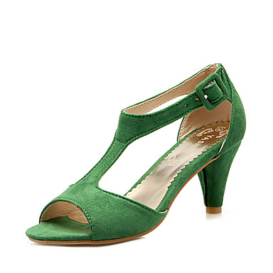 Women's Shoes Leatherette Summer Formal Shoes Sandals Cone Heel Peep Toe Hollow-out Green / Pink / Burgundy / Party & Evening