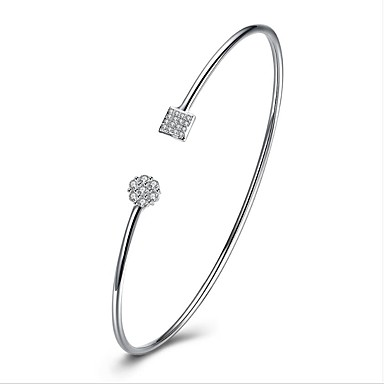 Women's Cubic Zirconia Cuff Bracelet - Sterling Silver, Zircon Personalized, Classic, Vintage Bracelet Silver For Wedding New Baby Gift / Valentine
