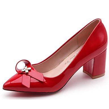 Női Cipő PU Ősz Magasított talpú Magassarkúak blokk Heel Erősített lábujj Csokor mert Ruha Fekete Szürke Piros