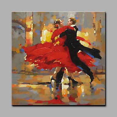 Hang festett olajfestmény Kézzel festett - Emberek Art Deco / Retro Vászon