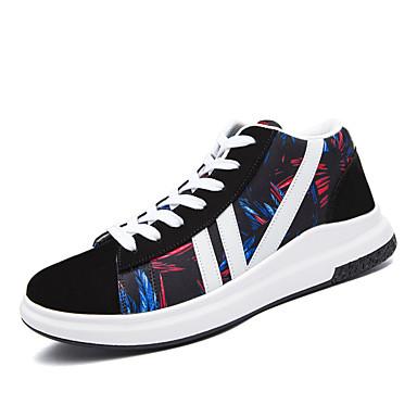 Herrn Schuhe Spandex PU Herbst Winter Leuchtende Sohlen Komfort Sneakers Schnürsenkel für Normal Grau Rot Blau