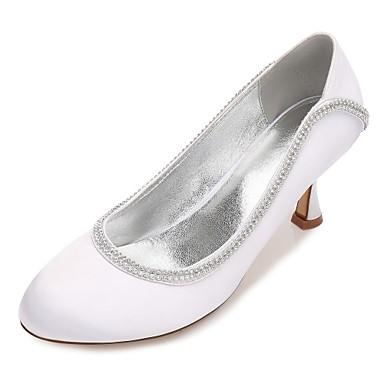b63ee64e911 Women s Shoes Satin Spring   Summer Basic Pump   Comfort Wedding Shoes  Kitten Heel   Low Heel   Stiletto Heel Round Toe Rhinestone