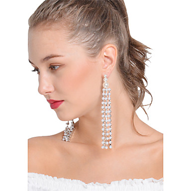 Women's Obsidian Tassel Drop Earrings - Imitation Pearl Statement, Tassel, Fashion White For Party Ceremony Street