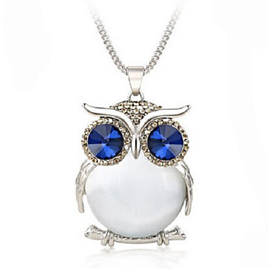 cheap Necklaces-Women's Pendant Necklace Owl Animal Rhinestone Alloy White Light Blue Necklace Jewelry For Wedding Party Special Occasion Anniversary Birthday