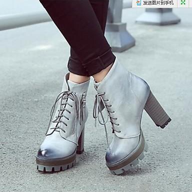 Damen Schuhe Künstliche Mikrofaser Polyurethan Herbst Winter Komfort Gladiator Springerstiefel Stiefel Für Normal Schwarz Grau Braun Kamel