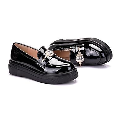 Bout Cuir Noir Femme Chaussons Bourgogne Plateau Mocassins Automne Métallique Bout 06172300 Chaussures Confort D6148 et rond Printemps Verni q5FZwP5