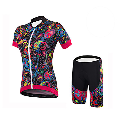 Malciklo Mulheres Manga Curta Camisa com Shorts para Ciclismo - Preto Floral / Botânico Formais Moto Conjuntos de Roupas Elastano Coolmax