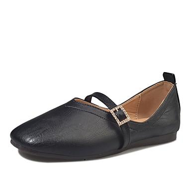 Damen Loafers & Slip-Ons Komfort Leuchtende Sohlen PU Frühling Sommer Kleid Schnalle Flacher Absatz Weiß Schwarz Gelb Unter 2,5 cm