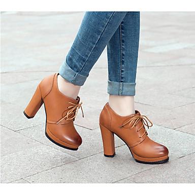 Damen Schuhe PU Winter Komfort High Heels Blockabsatz Runde Zehe Für Normal Schwarz Gelb