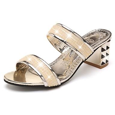 Női Cipő PU Tavasz Könnyű talpak Szandálok blokk Heel Lábujj nélküli Glitter mert Arany Fekete Ezüst