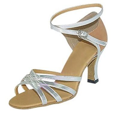 Női Latin cipők Műbőr Szandál Teljesítmény Cakkos Tűsarok Személyre szabható Dance Shoes Ezüst / Bőr