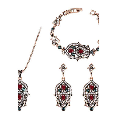 Women's Synthetic Diamond Jewelry Set - Emerald Luxury, Classic, Vintage Include Bracelet Bangles / Drop Earrings / Pendant Necklace Red / Green For Christmas / Party / Stage