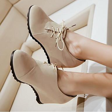 Damen Schuhe Nubukleder PU Frühling Herbst Komfort Stiefel Für Normal Schwarz Beige Braun