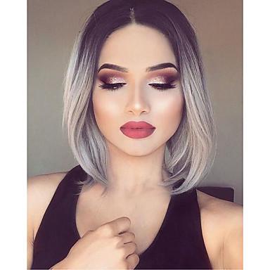 Synthetische Lace Front Perücken Wellen Bubikopf Gefärbte Haarspitzen (Ombré Hair) Damen Spitzenfront Natürliche Perücke Synthetische