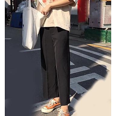 Damen Freizeit Hohe Hüfthöhe Breites Bein Chinos Hose Solide