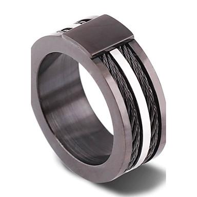 Férfi Band Ring - Circle Shape Vintage / Punk / Divat Matt fekete Gyűrű Kompatibilitás Esküvő / Eljegyzés / Napi