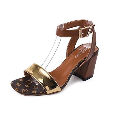 3350c635c04 Women s Block Heel Sandals PU(Polyurethane) Summer Comfort Sandals Block  Heel Open Toe Buckle