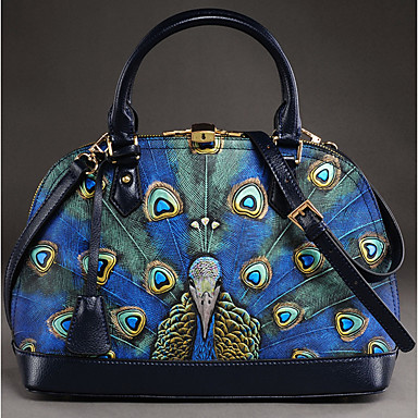 Women Bags Cowhide leatherette Tote Zipper for Casual Summer All Seasons Blue