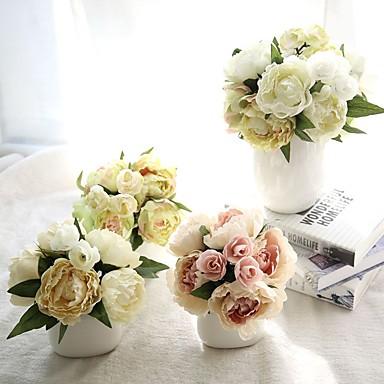 Künstliche Blumen 1 Ast Europäischer Stil Pfingstrosen Tisch-Blumen