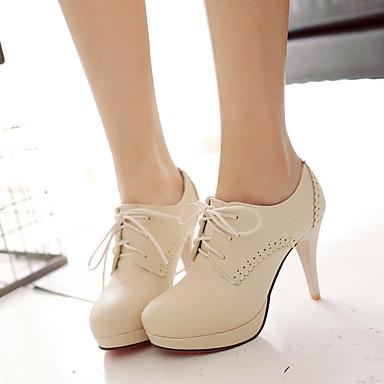 Damen Schuhe PU Frühling Komfort High Heels Stöckelabsatz Runde Zehe Für Normal Schwarz Beige Rosa