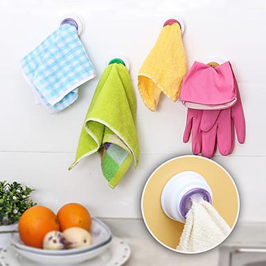 4Pc Set Washing Cloth Clip Hanger Sucker Holder Dishclout Storage Rack Bathroom Kitchen Storage Hand Towel Hook