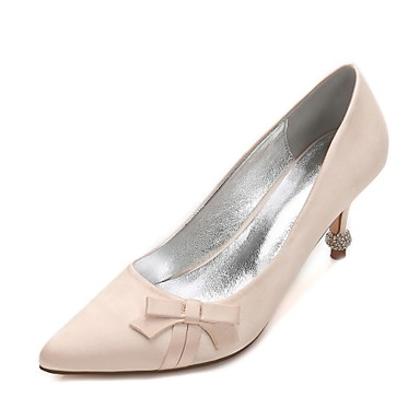 Women's Shoes Satin Spring / Summer Comfort / Basic Pump Wedding Shoes Kitten Heel / Cone Heel / Low Heel Pointed Toe Rhinestone /