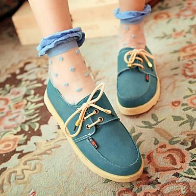 Damen Schuhe PU Herbst Komfort Flache Schuhe Flacher Absatz Runde Zehe Für Normal Gelb Braun Blau