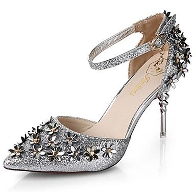 Women's PU(Polyurethane) Summer Basic Pump Heels Stiletto Heel Pointed Toe Flower Gold / Black / Silver / Wedding / Dress / 3-4