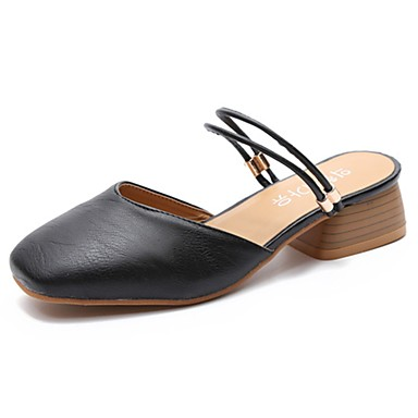 Women's Shoes PU(Polyurethane) Summer Slingback Clogs & Mules Block Heel Square Toe Black / Beige