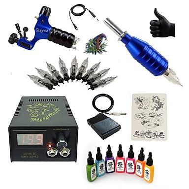 Starter Tattoo-Kits 1 x Drehtattoomaschine für Umrißlinien und Schattierung LCD-Stromversorgung 5 x Tattoonadeln RL 3 Komplett-Set