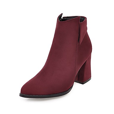 Damen Schuhe Kunstleder Herbst Winter Komfort Stiefel Walking Blockabsatz Spitze Zehe Booties / Stiefeletten Schnalle für Normal Kleid
