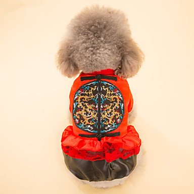 Hund Mäntel Hundekleidung Geometrisch Gelb Rot Baumwolle Kostüm Für Haustiere Neujahr