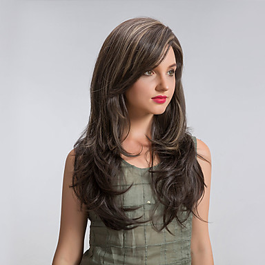 Synthetic Wig / Cosplay & Costume Wigs Straight Synthetic Hair Highlighted / Balayage Hair Brown Wig Women's Long Capless