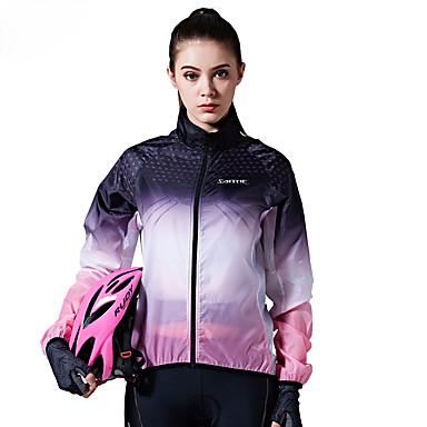 SANTIC Women's Cycling Jacket Bike Top Windproof Geometric Violet Bike Wear