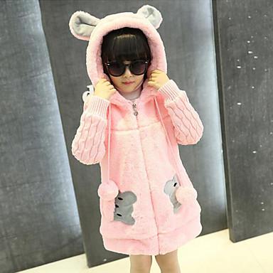 Χαμηλού Κόστους Ρούχα για Κορίτσια-Κοριτσίστικα Κινούμενα σχέδια Patchwork Μακρυμάνικο Μακρύ Ρεϊγιόν Πολυεστέρας Επένδυση με Πούπουλα & Βαμβάκι Ανθισμένο Ροζ
