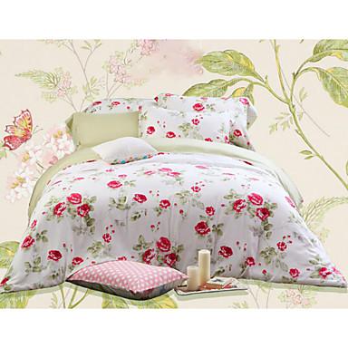 Blume 4 Stück Baumwolle Baumwolle 1 Stk. Bettdeckenbezug 2 Stk. Kissenbezüge 1 Stk. Betttuch