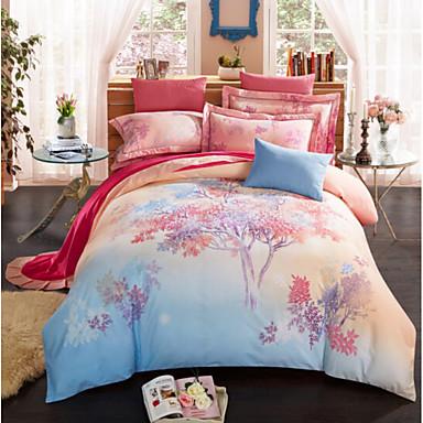 Pflanzen Korallen-Vlies Polyester / Baumwolle Korallen-Vlies Polyester / Baumwolle 4-teilig (1 Bettbezug, 1 Bettlaken, 2 Kissenbezüge)