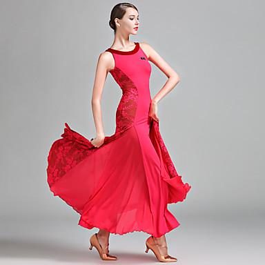 Ballroom Dance Women's Performance Lace Milk Fiber Lace Sleeveless Natural Dress