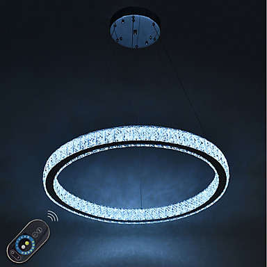 Circular Chandelier Ambient Light Electroplated Metal Crystal, Adjustable, Dimmable 110-120V / 220-240V Dimmable With Remote Control LED Light Source Included / LED Integrated