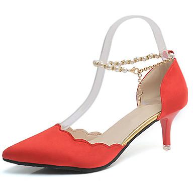 Damen Schuhe Kaschmir Frühling Komfort High Heels Walking Stöckelabsatz Spitze Zehe Perle für Kleid Schwarz Rot Grün Rosa