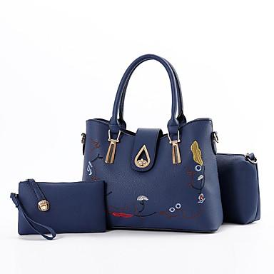 Damen Taschen PU Bag Set Rüschen / Reißverschluss Grau / Purpur / Wein / Beutel Sets