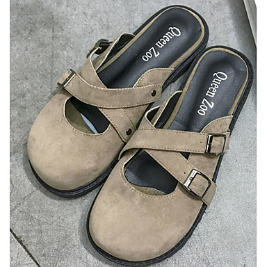 Damen Sandalen Komfort Sommer Beflockung PU Normal Schwarz Beige lichter Ocker 5 - 7 cm