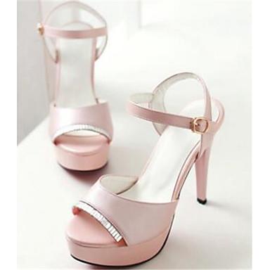 Damen Schuhe PU Sommer Herbst Komfort Sandalen Für Normal Weiß Schwarz Rosa