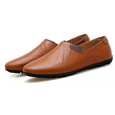 Férfi cipő PU Tavasz Ősz Könnyű talpak Papucsok & Balerinacipők mert Hétköznapi Fekete Barna Kék