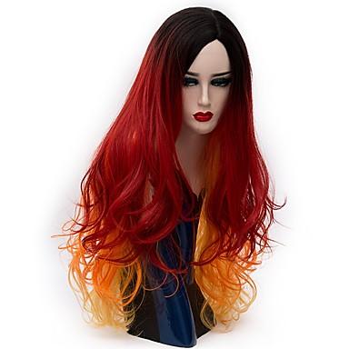 Szintetikus parókák Természetes hullám Sűrűség Sapka nélküli Női Piros Carnival Paróka Halloween paróka Party paróka Természetes paróka