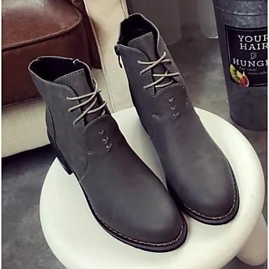 Damen Schuhe Echtes Leder PU Winter Komfort Modische Stiefel Stiefel Für Normal Schwarz Grau