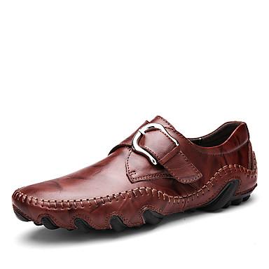 Férfi cipő Bőr Tavasz Ősz Búvárcipő Mokaszin Papucsok & Balerinacipők Csat mert Hétköznapi Szabadtéri Fekete Barna Piros