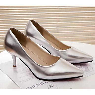 Damen Schuhe Echtes Leder PU Herbst Winter Komfort Pumps High Heels Für Normal Weiß Schwarz Silber