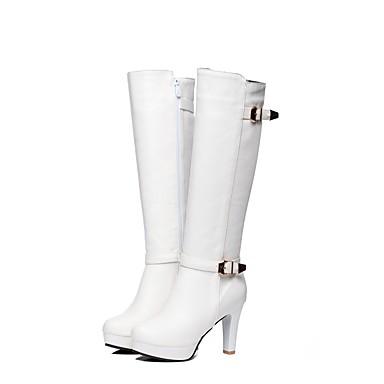 Boucle Noir Bottes Bottes Cuir Talon à Bout Bottier Automne Faux la Marron 06173793 Bottes Chaussures Hiver Fermeture rond Femme Blanc Mode qwzUZq