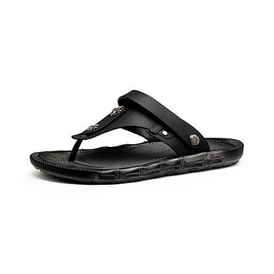 Herren Schuhe Leder Sommer Herbst Komfort Sandalen Für Normal Schwarz Dunkel Braun